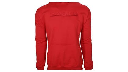 A red pullover hoodie
