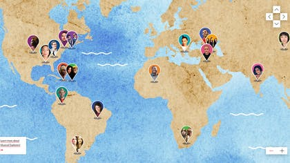 An illustrated map shows the musical artists' countries of origin