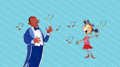 Illustration of a man and a little girl singing together with musical notes in the air around them