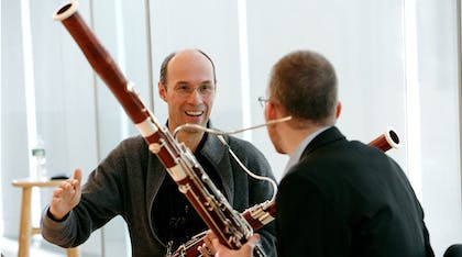 Stefan Schweigert of the Berliner Philharmoniker works with a young bassoonist.