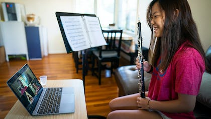 NYO2 oboist MacKenzie Kim plays in a private lesson with faculty member Erik Behr.
