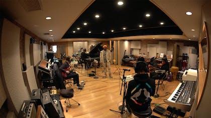 Musicians in a recording studio