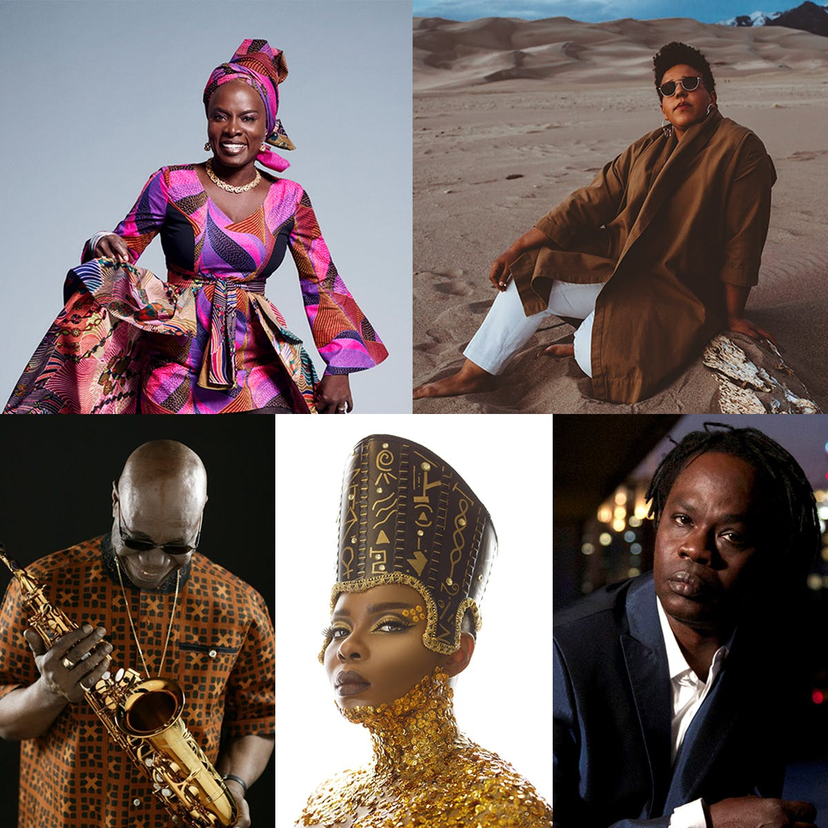 (top L to R) Angélique Kidjo, Brittany Howard; (bottom L to R) Manu Dibango, Yemi Alade, Baaba Maal