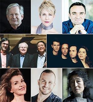 L to R: Sir John Eliot Gardiner; Joyce DiDonato; Jörg Widmann; Leonidas Kavakos, Emanuel Ax, and Yo-Yo Ma; Quatuor Ébène; Anne-Sophie Mutter; Yannick Nézet-Séguin; and Mitsuko Uchida