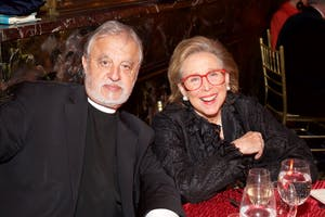 Linda Wachner with Rev. Fr. Alexander Karloutsos (Photo by Julie Skarratt)