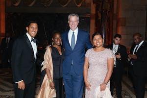 Rajiv Shah, Chirlane McCray, New York City Mayor Bill de Blasio, and Shivam Shah