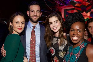 Amber Sainsbury, John McGregor, Anne Hathaway, and Playwright Ngozi Anyanwu (Photo by Julie Skarratt)