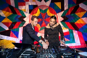 DJs Brendan Fallis and Hannah Bronfman (Photo by Julie Skarratt)