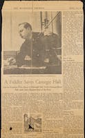 Sale of Carnegie Hall newspaper clipping.