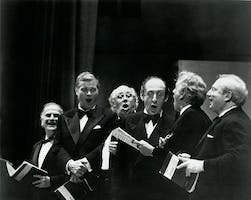 "Yehudi Menuhin, Dietrich Fischer-Dieskau, Mstislav Rostropovich, Vladimir Horowitz, Leonard Bernstein, and Isaac Stern perform the ""Hallelujah Chorus"" from Handel's <em>Messiah</em> on ""The Concert of the Century,"" a benefit concert for Carnegie Hall. The concert, which celebrated Carnegie Hall's 85th anniversary, also featured members of the New York Philharmonic and the Oratorio Society of New York."