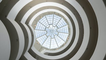 Looking up through the spiraling galleries of the Solomon R. Guggenheim Museum