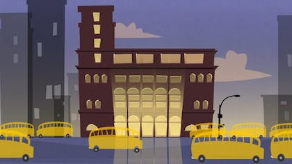 An illustration of yellow school buses in front of Carnegie Hall